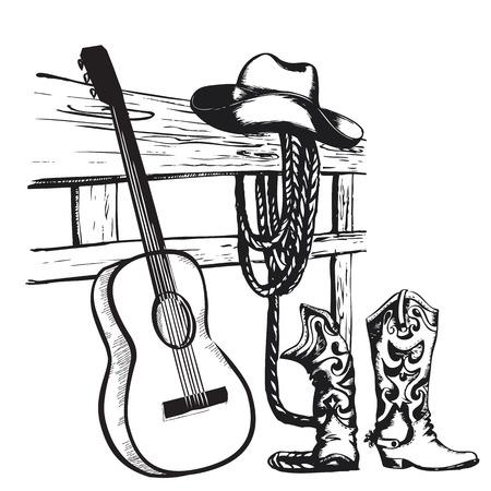 Ilustración de Western country music poster with cowboy clothes and music guitar background for text - Imagen libre de derechos