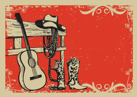 Illustration pour Western country music poster with cowboy clothes and music guitar background for text - image libre de droit