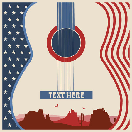 Illustration pour American poster of music festival.Vector country music background with guitar - image libre de droit