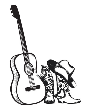 Illustration pour Western country music with cowboy shoes and music guitar.Vector isolated illustration on white - image libre de droit