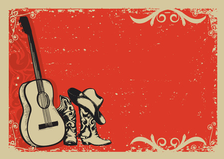 Illustration pour Western country music poster with cowboy shoes and music guitar background for text - image libre de droit