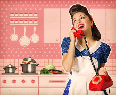 Photo pour Retro young woman talking on phone in her kitchen interior. Poster on old paper - image libre de droit
