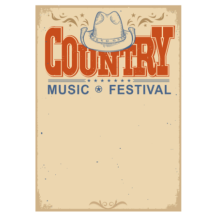 Illustration pour Country music festival poster on old paper background.Vector poster with cowboy hat  isolated on white - image libre de droit