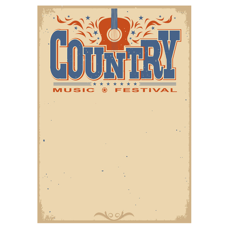 Illustration pour Country music festival poster on old paper background.Vector poster with acoustic guitar isolated on white - image libre de droit