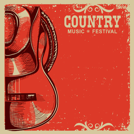 Illustration pour Western country music poster with american cowboy hat and guitar on vintage card background - image libre de droit