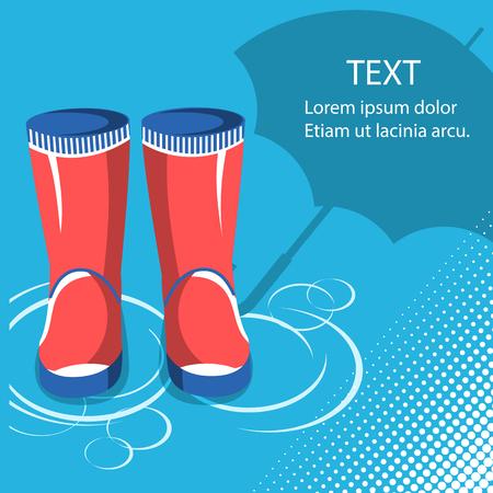Ilustración de Rain background.Red rubber boots with umbrella for text - Imagen libre de derechos