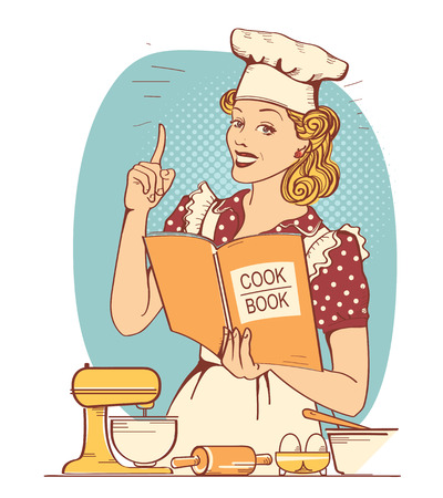 Illustration pour Young woman chef in retro style clothes cooking and holding cook book in her hand in the kitchen room - image libre de droit