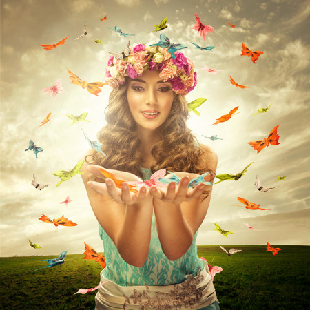 Photo pour Beautiful woman surrounds many butterfly - image libre de droit