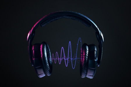 Photo for Dj Headphones and disco waves isolated on black background - Royalty Free Image