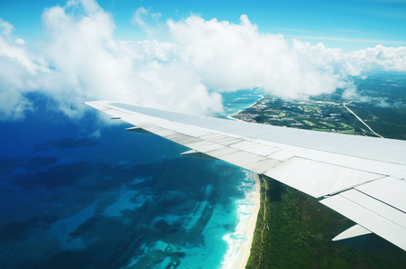 Foto de Beautiful aerial view from the plane over Punta Cana, Dominican Republic - Imagen libre de derechos