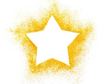 Photo for Christmas star. Decoration of golden confetti stars against white background - Royalty Free Image