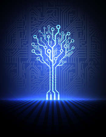 Photo pour Vector circuit board background with electronic tree  - image libre de droit