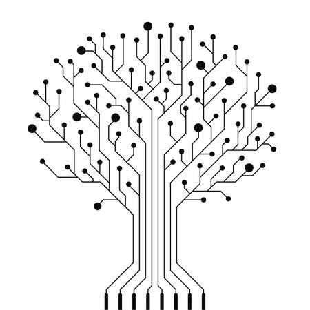 Ilustración de Vector circuit board tree - Imagen libre de derechos