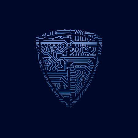 Illustration pour Data security icon. Circuit board shield - image libre de droit