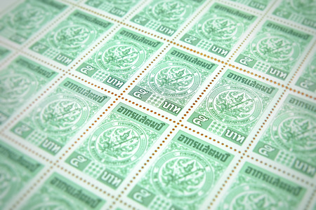 Foto de Chiang rai, Thailand - May 21, 2018: Revenue postage , 5 baht revenue postage duty of the Revenue Department, Thailand - Imagen libre de derechos