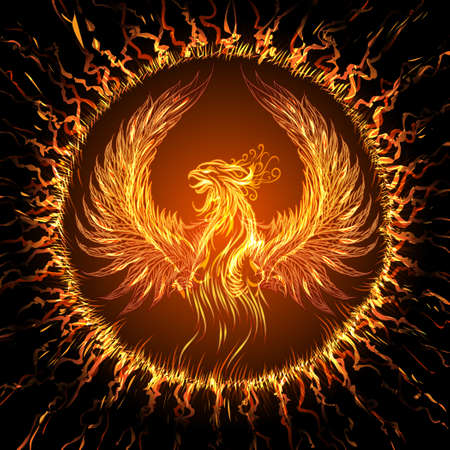Illustration pour Phoenix in circular frame. Illustration in fantasy style. - image libre de droit