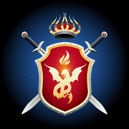 Illustration for Coat of Arms with crown swords and shield. Golden shield with fiery dragon emblem. Vector illustration. - Royalty Free Image