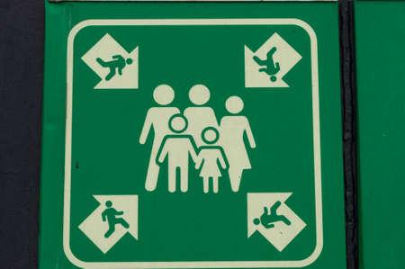 Foto de Evacuation meeting point sign on board a ferry - Imagen libre de derechos