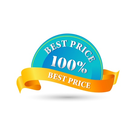 illustration of 100% best price tag on white background