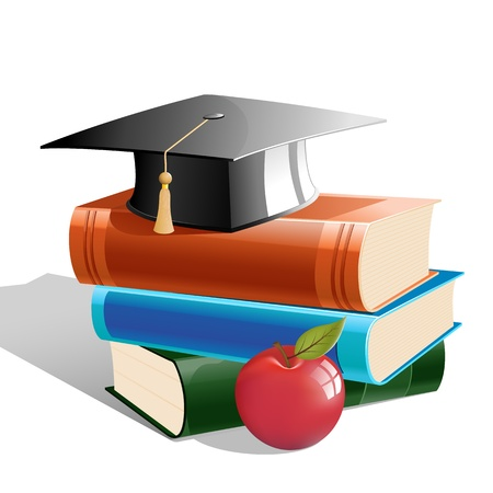 illustration of books with hat and apple on white background