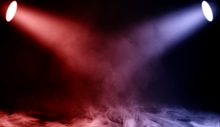 Photo for Colorful projector. Spotlight stage with smoke on the floor . Isolated background texture. - Royalty Free Image
