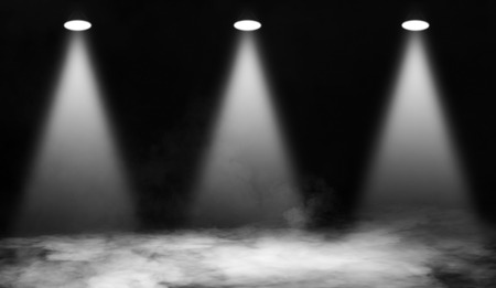 Photo for White stage . Spotlights on the floor. Isolated black background. - Royalty Free Image