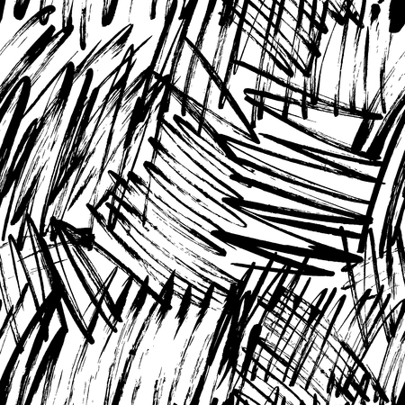 Illustration for Grunge scribbles hand drawn seamless pattern. Chaotic lines, hatches paintbrush drawing. Black paint dry brushstroke irregular background, backdrop. Ink brush texture. Wrapping paper, wallpaper design. - Royalty Free Image