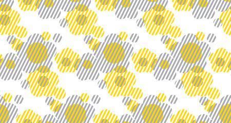 Illustration pour Vector illustration on concept geometry shape flowers for surface design, header, fabric. Laconic minimalist style seamless pattern. Concept two-color repeatable motif. - image libre de droit