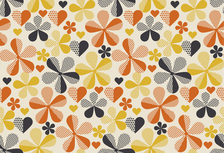 Illustration for Retro orange and yellow color 60s flower motif. Geometric floral seamless pattern.  vector illustration - Royalty Free Image