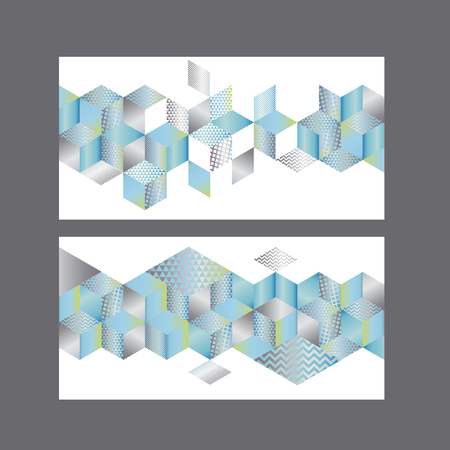 Illustrazione per Set of cards or header template with geometry shapes pattern. Abstract 3d illusion geometric mosaic composition in pale blue and silver colors.   - Immagini Royalty Free