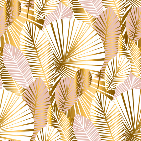Illustration for gold and pale rose abstract leaves seamless pattern for background, wrapping paper, fabric on blue checkered background. floral botalical endless repeatable motif for surface design. stock vector illustration  - Royalty Free Image