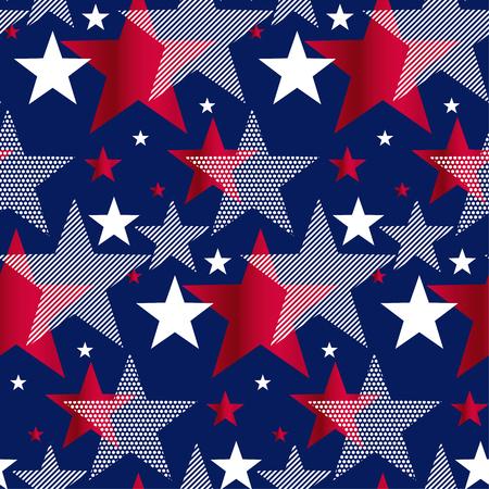 Ilustración de United States national symbol stars seamless pattern. US Memorial Day design element. Classic red and blue American repeatable motif for background. - Imagen libre de derechos