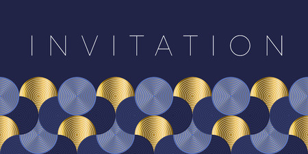 Illustration for Geometric luxury water waves header pattern. Blue sea wave vector illustration for invitation, cover, border. element for design. - Royalty Free Image