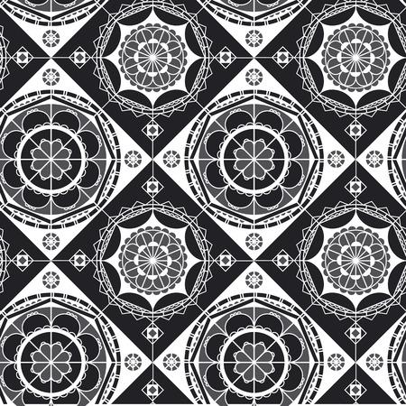 Illustration pour Spanish lace black and white seamless pattern. Monochrome mandala art. Mosaic tile ornament. Arabian style abstract  backdrop. Half circles, diagonal lines geometric background - image libre de droit