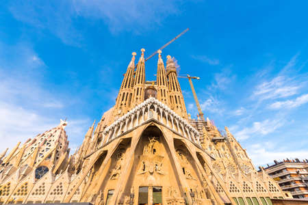 Foto de BARCELONA, SPAIN - FEBRUARY 16, 2017: Cathedral of Sagrada Familia. The famous project of Antonio Gaudi. Copy space for text - Imagen libre de derechos
