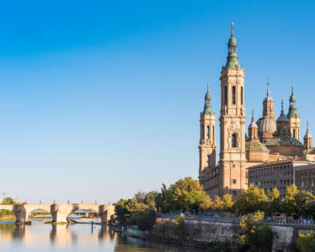 Photo pour The Cathedral-Basilica of Our Lady of Pillar - a roman catholic church, Zaragoza, Spain. Copy space for text - image libre de droit