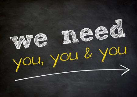 Foto de we need you - chalkboard background concept - Imagen libre de derechos