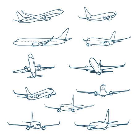 Illustration pour airplanes sketches - image libre de droit