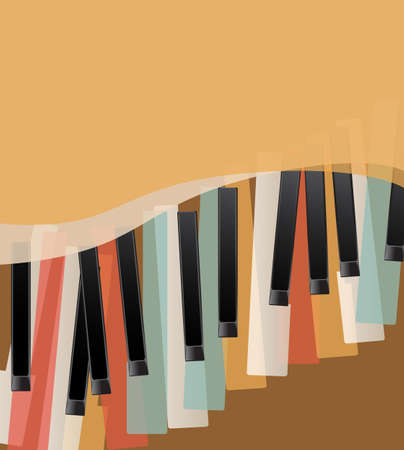 Illustration for piano keys retro orange background with space for text - Royalty Free Image