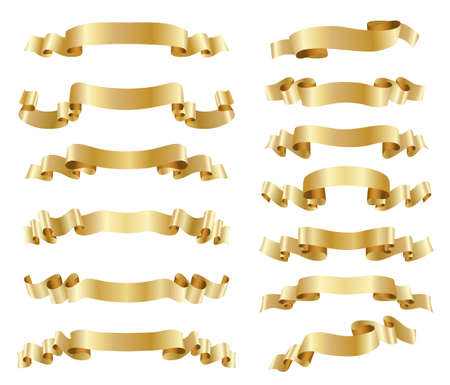 Illustration for set of golden ribbons on white - Royalty Free Image