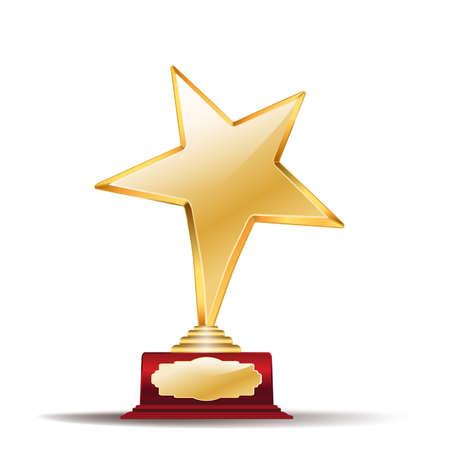 Illustration for golden star award on white - Royalty Free Image