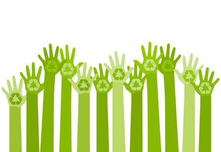 Ilustración de abstract illustration with raising hands with a recycle symbol. eco friendly design template. care of environment concept - Imagen libre de derechos
