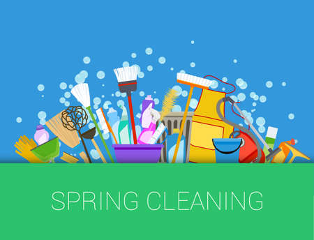 Illustration pour Spring cleaning background. Set of cleaning supplies. Tools of housecleaning. Vector - image libre de droit