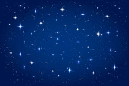 Illustration pour Night sky with shining stars background. Vector horizontal template - image libre de droit