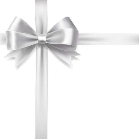 Illustrazione per silver ribbon bow over white background. vector decorative design elements - Immagini Royalty Free