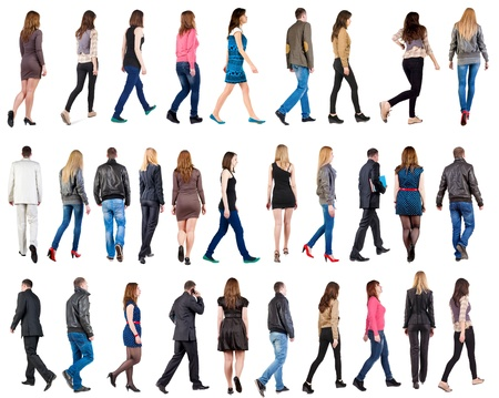 Photo pour collection  back view of walking people . going people in motion set.  backside view of person.  Rear view people collection. Isolated over white background. - image libre de droit