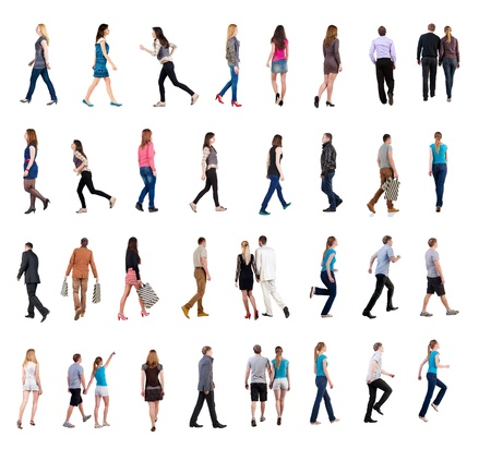 Photo for collection   back view of walking people    going people in motion set   backside view of person   Rear view people collection  Isolated over white background  people of different genders and in different clothes move - Royalty Free Image