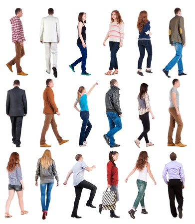 Foto de collection  back view of walking people . going people in motion set.  backside view of person.  Rear view people collection. Isolated over white background. - Imagen libre de derechos
