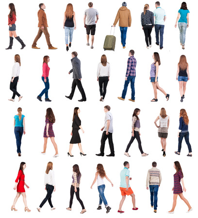 Photo for collection  back view of walking people . going people in motion set.  backside view of person.  Rear view people collection. Isolated over white background. - Royalty Free Image