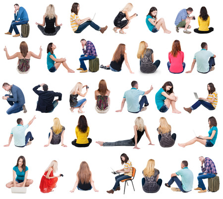 Photo for Collection back view of sitting people.  .  backside view of person.  Rear view people set. Isolated over white background. - Royalty Free Image